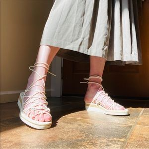 Chloe Dante Wedge Lace Up Knotted Sandals in White